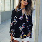 Casual Floral Print Long Sleeve Chiffon Shirt Blouse Tops Women's off Shoulder