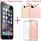 Tempered Glass Lens Camera+Screen Tempered Glass+ TPU Case For iPhone 7 /7 Plus