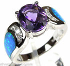 8x10mm Amethyst & Blue Fire Opal Inlay  925 Sterling Silver Ring size 6, 7, 8, 9