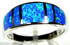 Deep Blue Fire Opal Inlay 925 Sterling Silver Men's, Woman Band Ring size 7 or 9