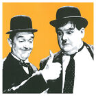 AUCTION - Laurel and Hardy Andy Warhol Style Gold Pop Art Print - 30 x 30cm