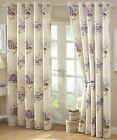Aston Floral Cotton Eyelet Ring Top Lined Curtains, Cream Heather Lilac Lavender