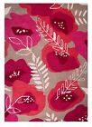 100% Wool Woollen Rug - Raspberry Pink Red Floral Burst Large Small New Mat Rugs