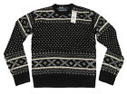 $265 Polo Ralph Lauren Mens Black White Heavy Wool Hand Knit Slim Sweater New