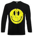 Smiley t shirt acid house rave dance music clubbing retro long sleeved s - 2xl