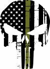 Punisher Skull American Flag Olive Drab Military Window Decal - Various sizes