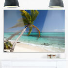 Palm Bent to Picturesque Seashore - Modern Seascape Glossy Metal Wall Art