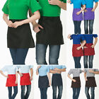 Solid Short Waist Half-length Apron With Pocket Catering Chefs Waiters Bar Apron