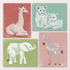 Внешний вид - Baby Girl African Safari Animals nursery wall art decor elephant giraffe zebra