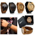 Luxury Men's Women's Bamboo Wood Watch Quartz Leather Wristwatches Fashion w/Box image