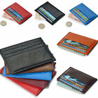 Men's Womens Leather Small Id Credit Card Wallet Holder Slim Pocket Case