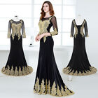 Appliques Formal Long Wedding Prom Gown Bridesmaid Cocktail Party Evening Dress