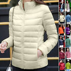 Ladies Winter Padded Coat Women Quilted Down Jacket Hooded Zipper Bubble Outwear