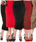 BANNED 50s vintage style PENCIL WIGGLE rockabilly SKIRT PLAIN TARTAN LEOPARD