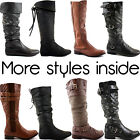 LADIES WOMENS BLACK FLAT HEEL CALF KNEE HIGH RIDING LEATHER STYLE BOOTS SIZE 3-8