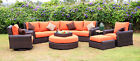 World Wide Wicker Serenity 8 Piece Deep Seating Group wit...