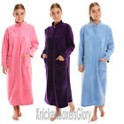 Ladies Button Through Fleece Dressing Gown/Robe Size 14,16,18,20,22,24,26,28 NEW