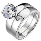1.9 Ct Round Cubic Zirconia Sterling Silver Bridal Engagement Wedding Ring Set