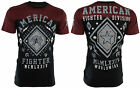 AMERICAN FIGHTER Mens T-Shirt KENDALL Athletic BLACK RED Biker Gym MMA UFC $40 image
