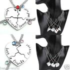 Silver Heart Puzzle Rhinestone Pendant Chain Necklace Friendship Jewelry 4pc/3pc