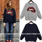 Sequin Red Lip Long Sleeve Brushed Pullover Shirt Crewneck Sweatshirt Jumper