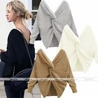 Stylish V-neck Twist Knot Back Long Sleeve Pullover Sweater Two-side wear Jumper
