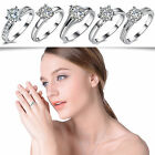 Chic Women White Gold Plated Zircon Crystal Ring Lady Engagement Gift Jewelry