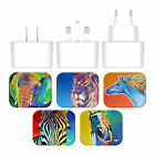 OFFICIAL DAWGART WILDLIFE WHITE UK CHARGER & USB CABLE FOR APPLE iPAD