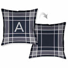 Laural Home Plaid Navy Monogram Reversible Decorative Throw Pillow (18 inches x