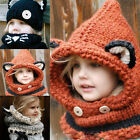 2016 Kids/Boys/Girls Winter Fox Beanie Warm Hat Hooded Scarf Earflap Knitted Cap
