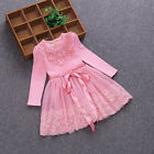 2-6 years and lovely baby girl long sleeve lace princess dress 2 colors