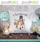 """16""""X 16"""" PERSONALISED GIFT CUSHION CHRISTMAS AT THE SNOWMAN FAMILY COUPLE MR&MRS"""