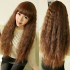 Natural Brown Corn Wavy Wig Lady Long Curly Fluffy Hair Daily Costume Cosplay