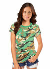 Ladies Women Green Army Camouflage Print Short SleeveT-Shirt Top