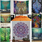 Indian Mandala Tapestry Hippie Wall Hanging Blue Bohemian Bedspread Dorm Decor A