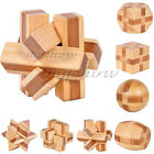 3D IQ Brain Teaser Bamboo Wooden Interlocking Puzzles Game Kids Creative Toy