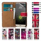 PU Leather Design Book Wallet Case Cover For LG Phones + Screen Protector