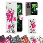 PU Leather Design Book Wallet Case Cover for Huawei Phones + Screen Protector