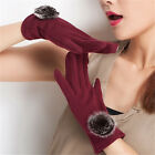 Women's Faux Fur Fleece Thermal Lined Touch Screen Full Finger Gloves Winter AY