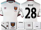 16 / 17 - UMBRO WEST HAM UNITED AWAY SHIRT SS + PATCHES  BILIC 28 = KIDS SIZE