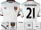 16 / 17 - UMBRO WEST HAM UNITED AWAY SHIRT SS + PATCHES  OGBONNA 21 = KIDS SIZE