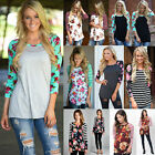 New Womens Long Sleeve Sweatshirt Pullover Raglan Tee Jumper Tops T-Shirt Blouse