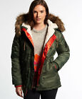 New Womens Superdry SD-3 Parka Coat Olive Green