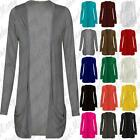 Womens Ladies Long Hip Open Front Slouch Boyfriend Pocket Cardigan Top 8-26