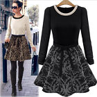 Women Elegant Crew Neck Printed Long Sleeve Casual Evening Party Cocktail Dress