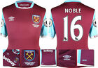 16 / 17 - UMBRO WEST HAM UNITED HOME SHIRT SS + PATCHES  NOBLE 16 = KIDS SIZE
