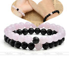 8mm Rose Quartz Matte Black Agate Elastic Stretchy Bracelets For Couple / Lovers