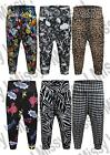 Womens Printed 3/4 Ali Baba Harem Baggy Pants Trousers Cropped Leggings 8-26