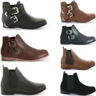 KIDS CHILDRENS CHELSEA PULL ON BROGUE LOW FLAT HEEL ANKLE BOOTS SHOES SIZE