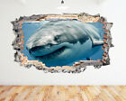 Wall Stickers Great White Shark Ocean Blue Smashed Decal 3D Art Vinyl Room N614